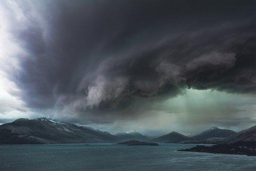 Landscape, Storm, Sky, Clouds, Mountains, Sea, Dark