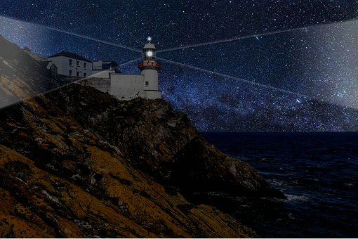 Lighthouse, Light, Sea, Costa, Night, Tower, Beach
