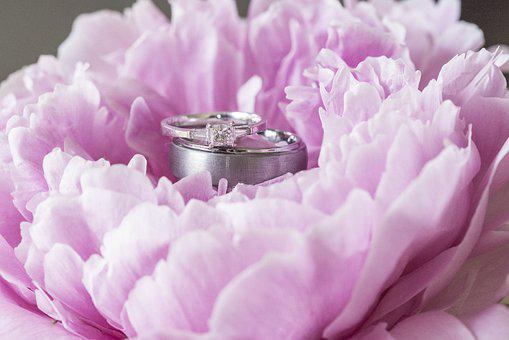 Peony, Flower, Pink, Wedding, Ring, Diamond