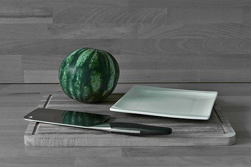 Melon, Cleaver, Plate, Dulcimer, Ceramic, Fruit