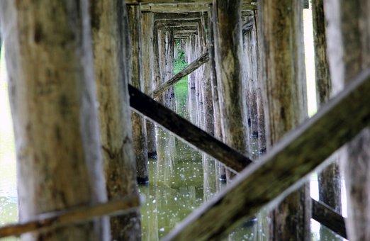 Bridge, Wood, Pillar, River, Gangplank