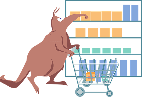 Shopping, Cart, Grocery, Animal, Shelves, Items