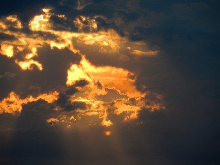 Sunset, Raincloud, Clouds, Sky, Cumulus, Yellow, Sun