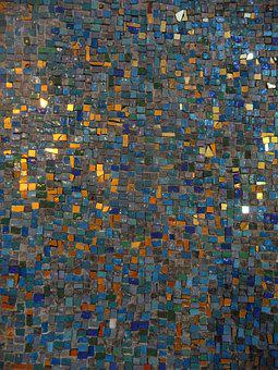 Mosaic, Abstract, Golden, Colorful, Blue, Pattern