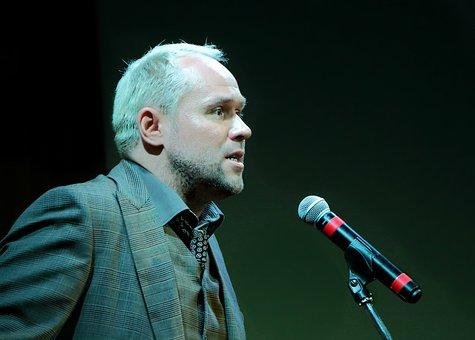 Man, Artist, Actor, Reader, Averin, Microphone, Theatre