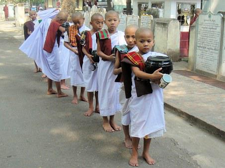 Mandalay, Myanmar, Monks, Children, Boys, Monk, Child