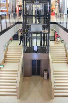 Elevator, Shopping Mall, Shopping, Stairs, Mobile, Buy