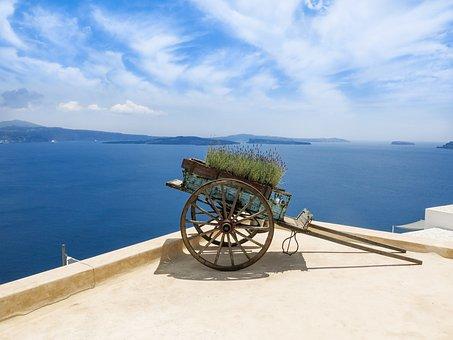 Greece, Sea, Sea View, South, Santorini, Cart, Sky, Sun