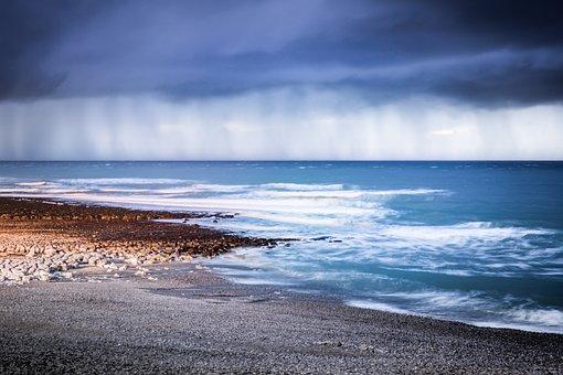 Etretat, Normandy, Beach, Cliff, Clouds, Water, Sunset