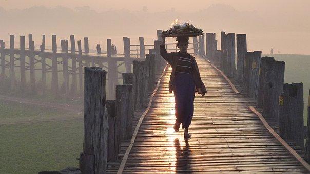 U Bein Bridge, Mandalay, Myanmar, Bridge, Dawn, Person