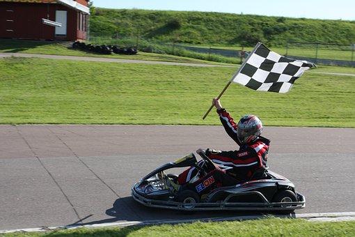 Go-kart, Racing, Drive, Sport, Finish, Flag, Carting