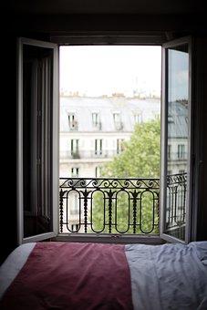 Bedroom Window, France, Interior, Paris, Europe, Bed