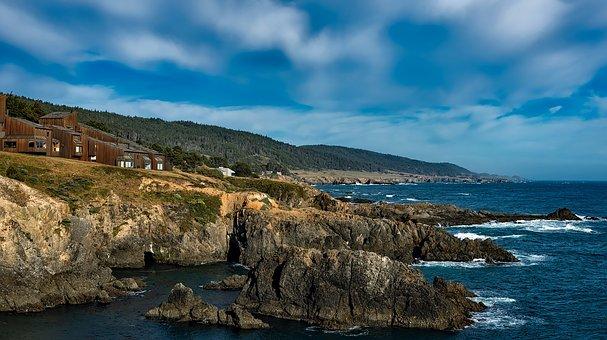 Sea Ranch, California, Panorama, Sky, Clouds, Hdr, Sea