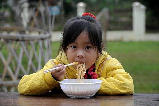 Child, Noodle, High Land, Family Pass North, Vietnam