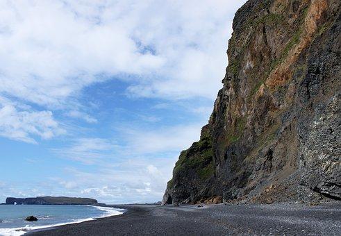 Beach, Cliff, Iceland, Precipices, Sea, Black Sand
