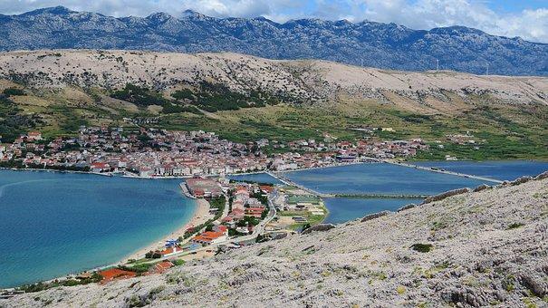 Landscape, Mountains, Sea, Cove, Buildings, City, View