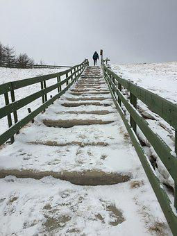 Stairs, Winter, Landscape, Ranch, Hill, Climb, Method
