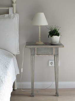 Bedroom, Side Table, Lamp, Light, Plant, Pillows, Bed