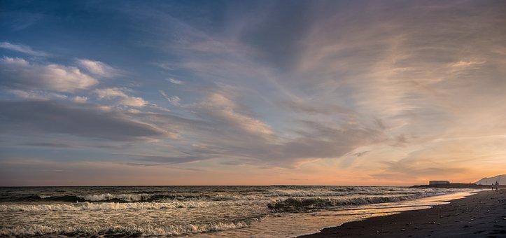 Sunset, Cable Beach, Marbella, Malaga, Andalusia, Spain