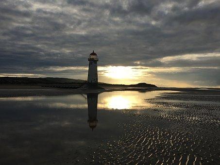 Talacre, Lighthouse, Sunset, Dusk, Beacon, Maritime
