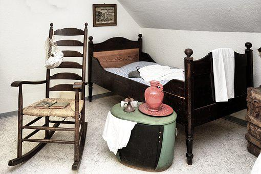Bed, Rocking Chair, Chest, Old, Historically