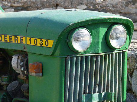 Tractor, Detail, Old, Green, John Deere
