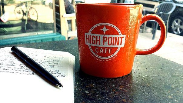 Cafe, Drink, Coffee, Cup, Mug, Beverage, Pen, Table