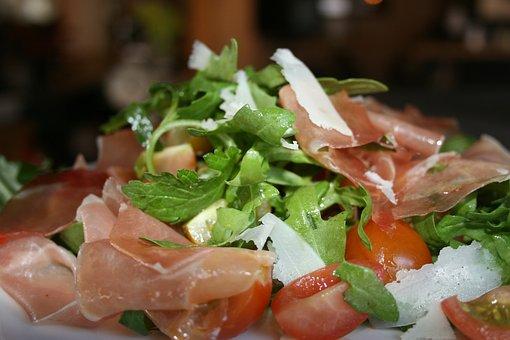 Frisch, Salad, Rocket, Proshutto, Eat, Cherry Tomato