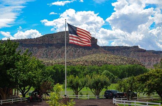 Usa, America, Utah, Ranch, Farm, American, Flag