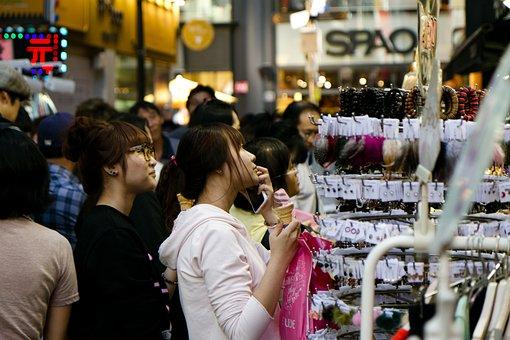 Myeongdong, Seoul, Korea, Shopping, Mall, South, Korean