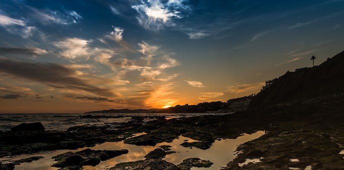Sunset, Beach, Costa, Blue, Sky, Orange, Waves, Clouds