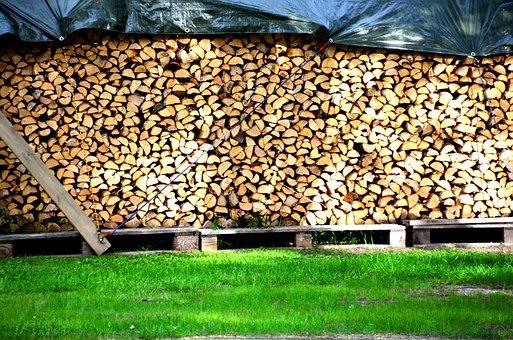 Vedstapel, Summer, Sweden, Swedish, Wood