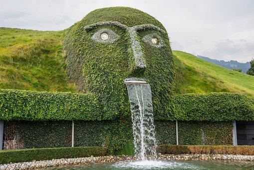 Waterfall, Artwork, Sculpture, Fig, Wattens