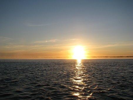 White Sea, Water, Dawn, Sunrise, Sun, Dahl, Fog