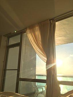 Sunrise, Curtains, Shine, Window, Room, Morning, Sun