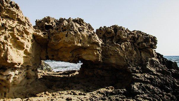 Cyprus, Ayia Napa, Rock, Window, Coast, Sea, Wave