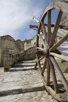 Matera, Cart, Wheel, Wood Wheels, Stone Floor