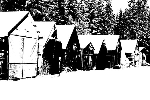 Boathouse, Winter, Port, Black And White