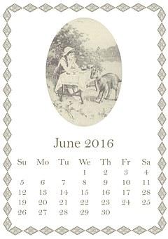 June, 2016, Calendar, Girl, Child, Goat, Table