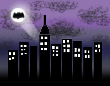 City, Gotham, Batman, Superhero, Skyscraper, Night, N
