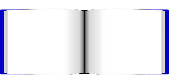 Book, Open, White, Blank, Empty, Blue, Outline, Borders