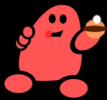 Man, Red, Cartoon, Comic, Figure, Eating, Cookie