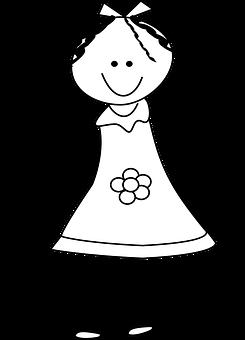 Girl, Happy, Dress, Stickman, Stick Figure