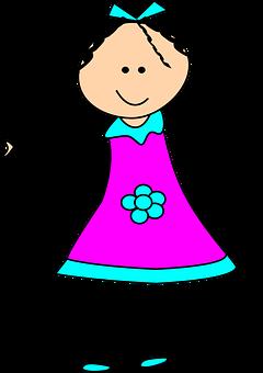 Girl, Child, Happy, Dress, Stickman, Stick Figure