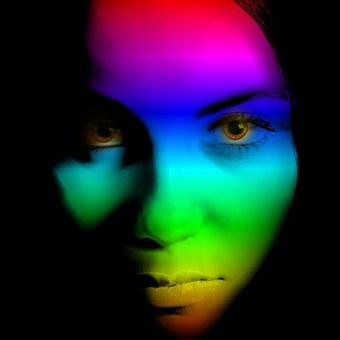 Woman, Face, Color, Rainbow, View, Mystical, Portrait