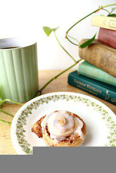 Learning, Cinnamon Roll, Doughnut, Coffee, Mug, Books