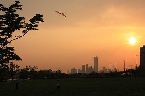 Kite At Sunset, Sunset, Seoul, Cityscape
