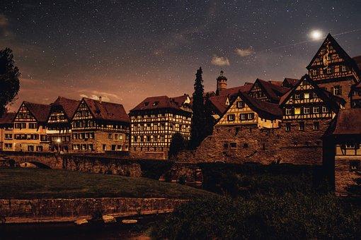 Night, Sky, Star, Fachwerkhäuser, Houses, Truss