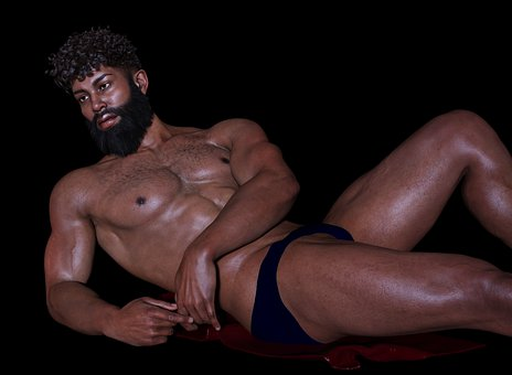 Man, Portrait, Naked, Lying, Erotic