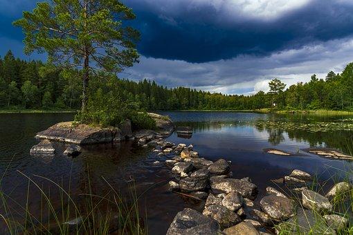 Lake, Island, Landscape, Water, Reflections, Clouds